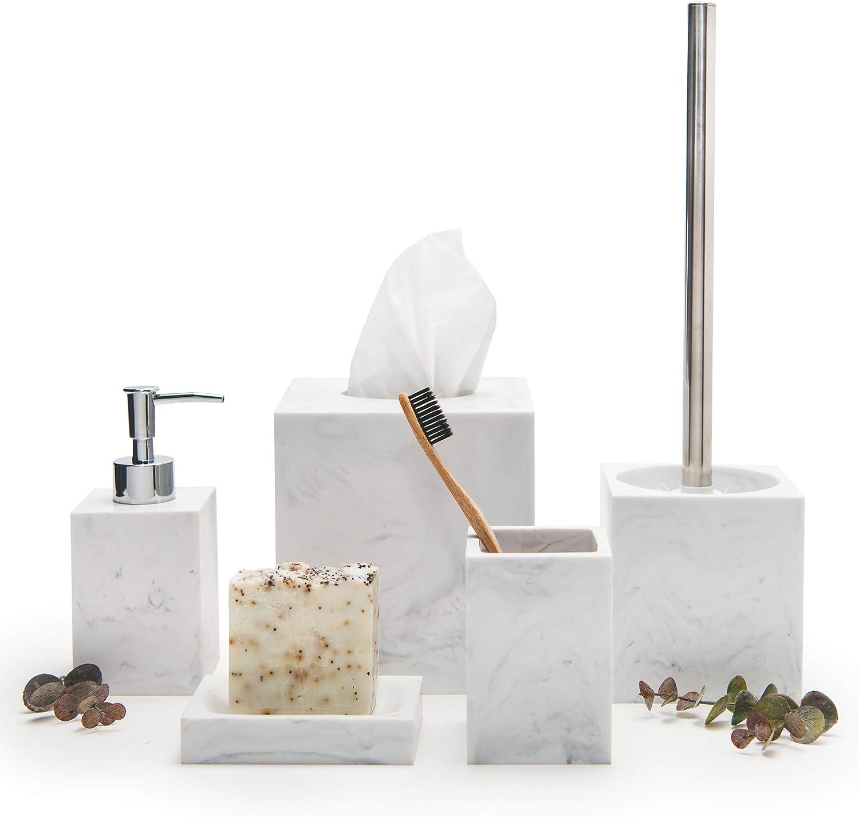 Kurrajong Farmhouse Elegant 5 Piece Bathroom Accessories Set Marble Effect Bathroom Decor The Bathroom Set Has Tissue Box Cover Toilet Brush Toothbrush Holder Soap Dish Soap Dispenser Home Kitchen