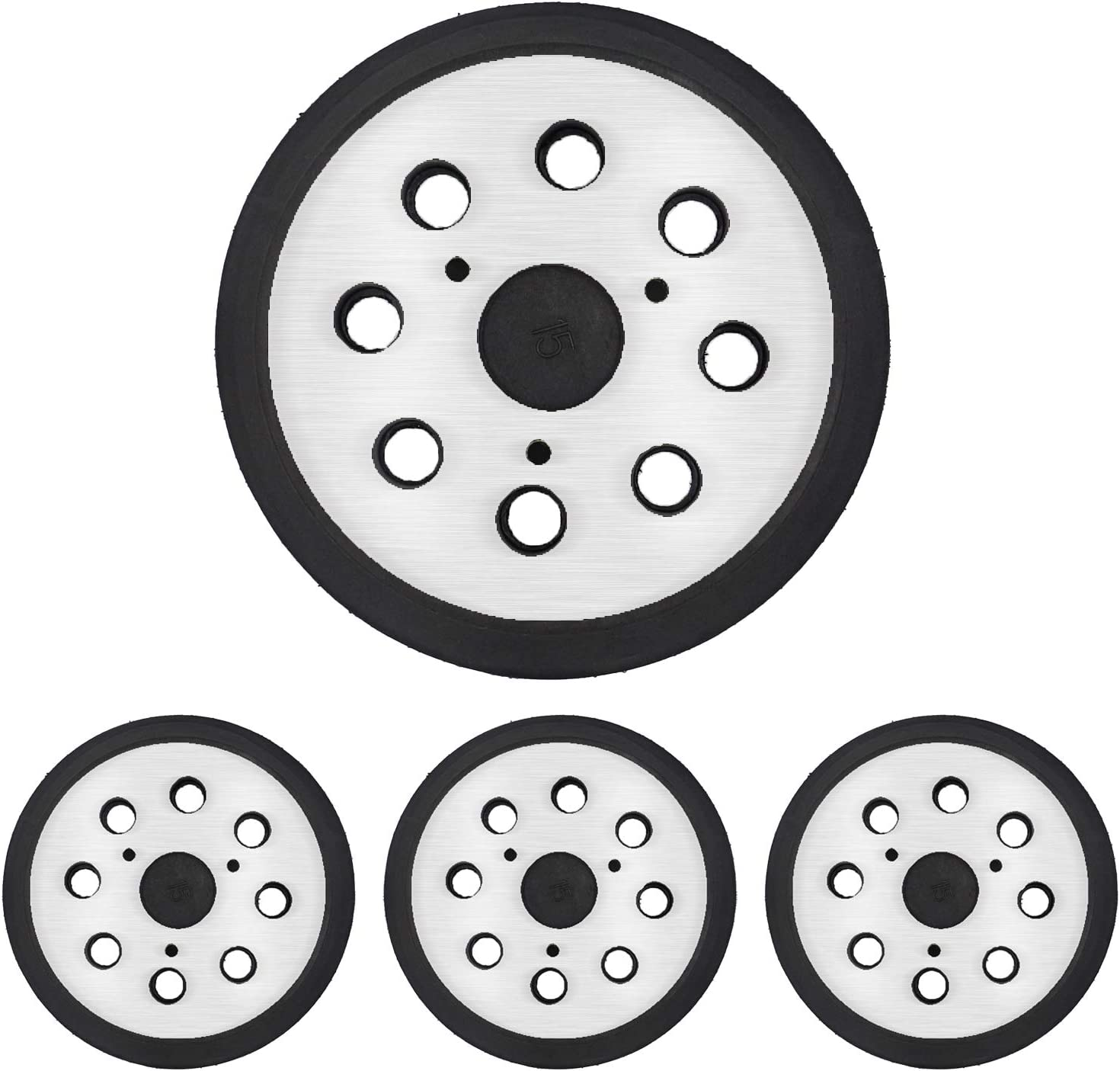 "Tanzfrosch 4 Pack 5 inch 8 Hole Replacement Sander Pads 5"" Hook and Loop Orbital Sanding Backing Plates for DeWalt 151281-08 RSP26 Compatible with DeWalt, Makita, Porter Cable, Black & Decker Tools"