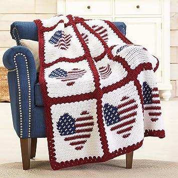 Amazon Red Heart American Hearts Crochet Afghan Kit