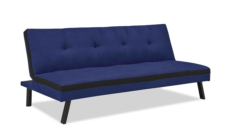 Banquette clic clac convertible 3 places en tissu bleu et noir couchage 2 personnes