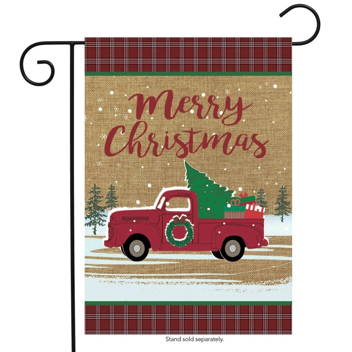 Briarwood Lane Christmas Truck Burlap Garden Flag Holiday 12.5'' x 18''