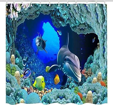 Coral Reef Fish Dolphin Shower Curtain Set Kids Bathroom Decor Waterproof Fabric