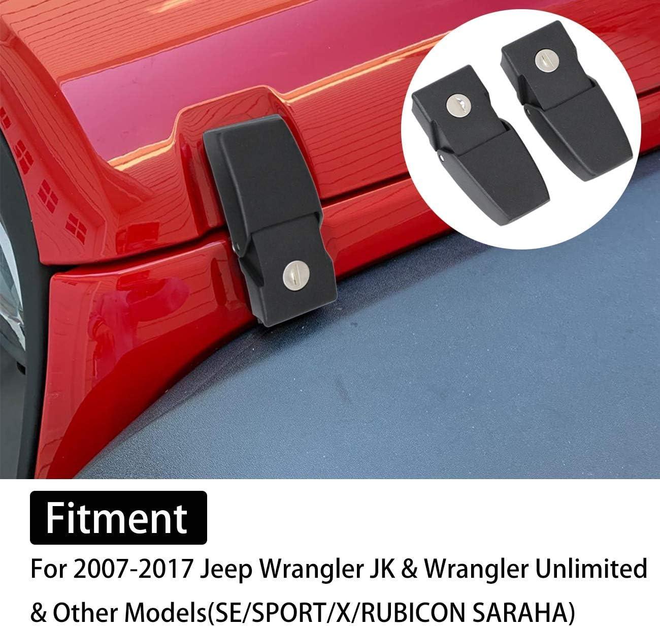 MFC Anti-Thief Hood Lock Catch Latches Kit Assembly for Jeep Wrangler JK JKU 2007-2017 2 Door 4 Door Stainless Steel Hood Lock