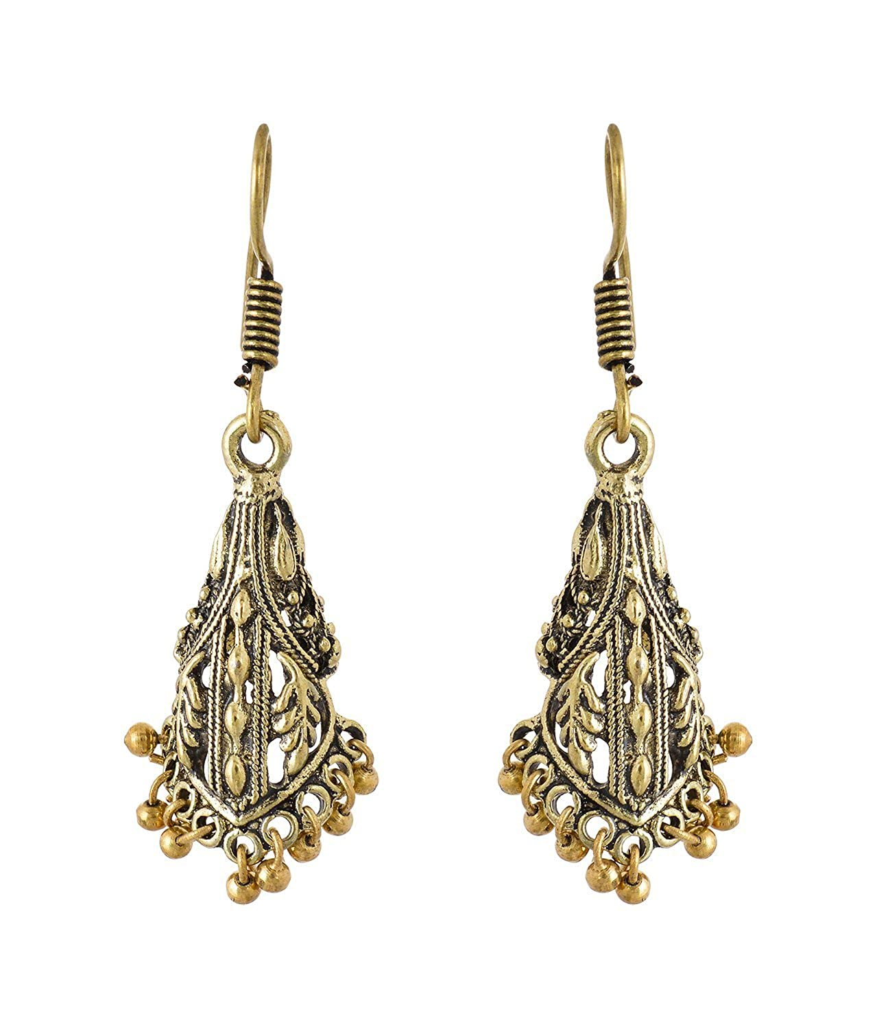 Subharpit Golden Color Metal Traditonal Indian Dangle Earring for Woman /& Girls
