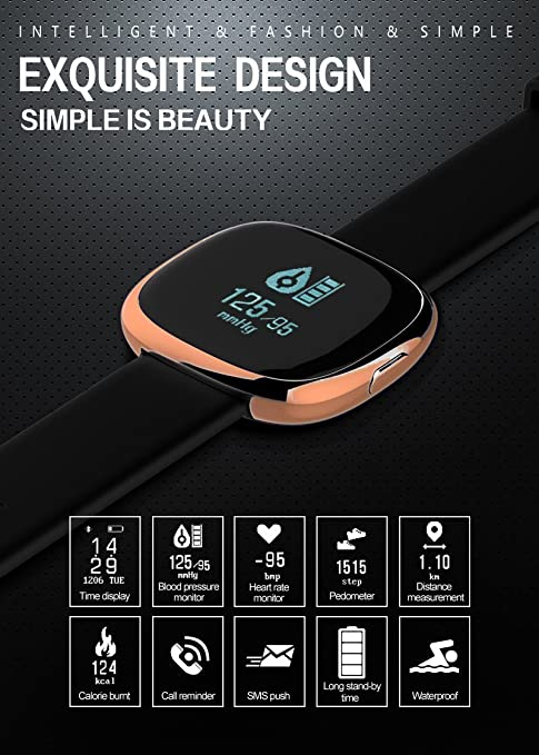 Amazon.com: Waterproof Bluetooth Smart Watch with Blood Pressure /Heart Rate / Sleep Monitor Sports Fitness tracker Watch smart band Pedometer for IOS ...