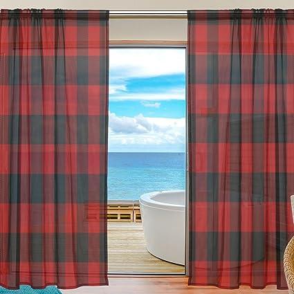 amazon com wozo custom merry christmas black red plaid sheer panelwozo custom merry christmas black red plaid sheer panel pair curtains 55u0026quot;x78u0026quot; modern