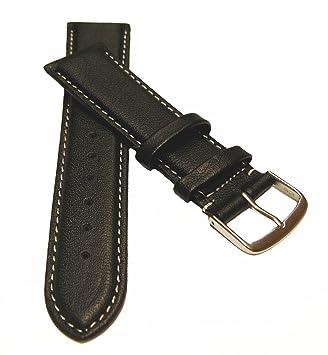 22 mm Correa de piel de vacuno con XL sobre longitud de blanco negro de soldadura, cinta de exportaciones de reloj correa de cuero: Amazon.es: Electrónica