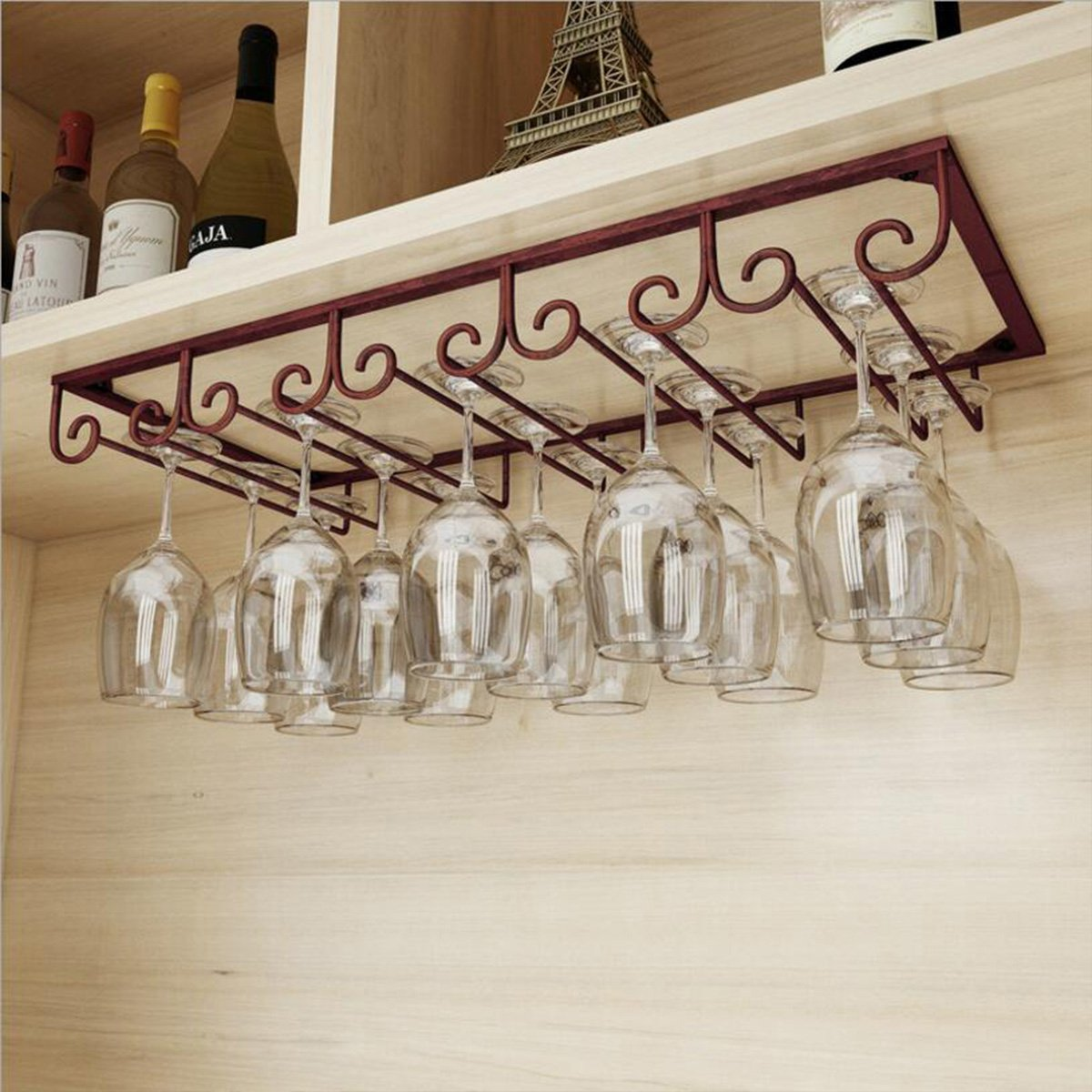 MZGH ISLAND Under Cabinet Hanging Shelves 5 Slots,Vintage Wine Glass Rack,Organizer Storage Cup,Goblet Drying Shelf,Stemware Holder for Home Bar,Holds up to 10-15 Glasses(Bronze)