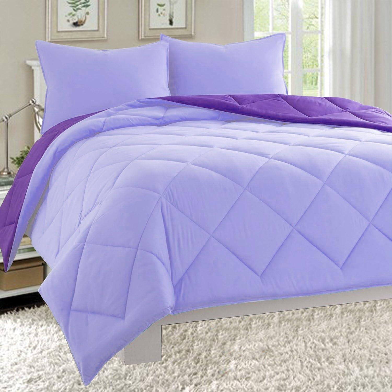 Elegant Comfort All Season Light Weight Down Alternative Reversible 3-Piece Comforter Set, King, Lavender/Purple