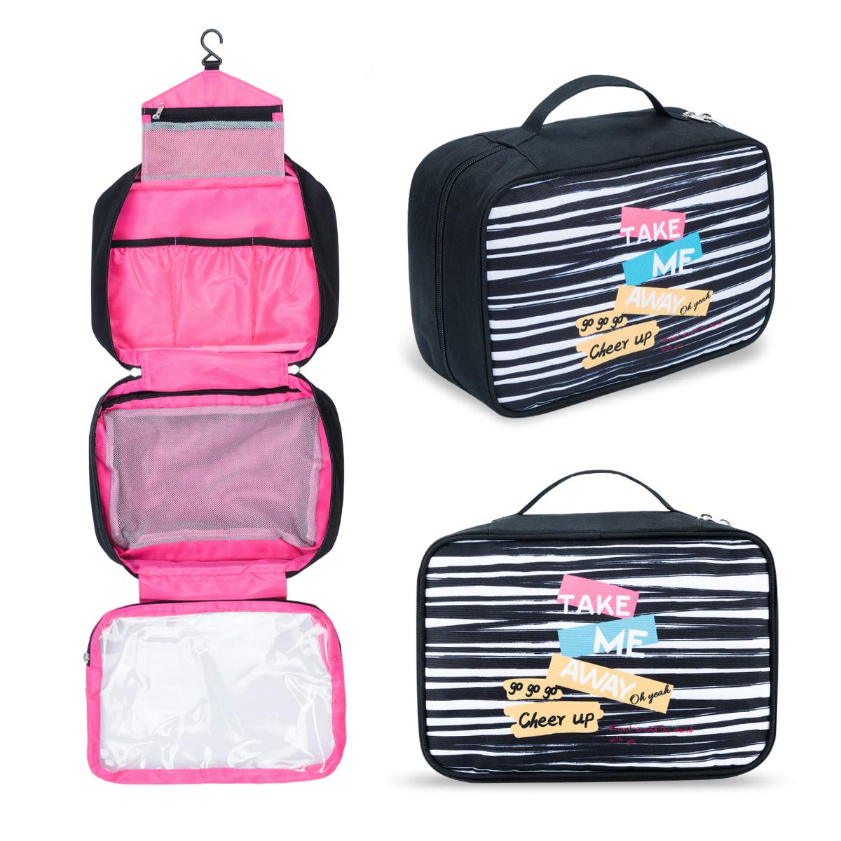 Toiletry Bag Hanging Travel Bag Portable Folding Travel Bags for Toiletries Leak Proof Compact Cosmetics Bag for Women, Men, Kids Carry On Makeup Bags Black Strips