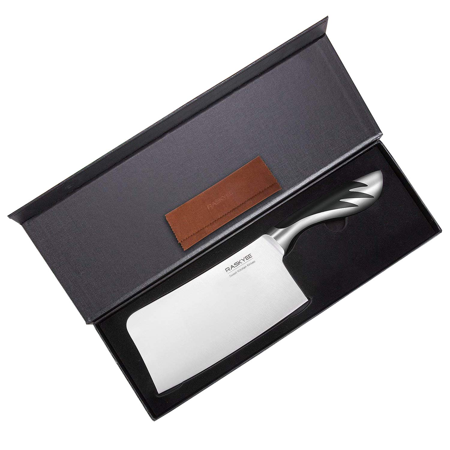 Meat Cleaver,Raskyee 7 inch German Stainless Steel Cleaver Kitchen Meat Knife with Multipurpose Use for Home Kitchen and Restaurant
