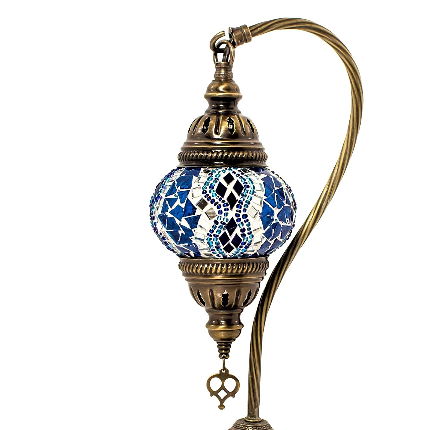 Unique Globe Lampshade Swan Neck Series by TK BAZAAR Turkish Mosaic Table Lamp,Stunning Moroccan Style