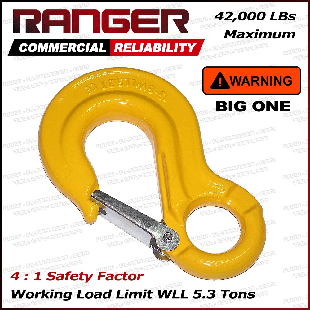 Ranger WLL 5.3 Tons G80 Eye Hook with Clevis Safety Latch for Hoist Sling Winch Tow Crane Lift by Ultranger (WLL 5.3 Tons Break Point 42,000 LBs)