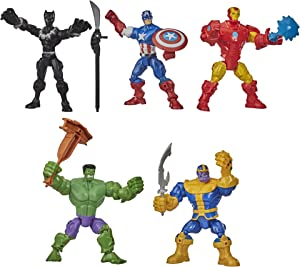 Hasbro Marvel Super Hero Mashers Battle Mash Collection Pack, Includes Iron Man, Black Panther, Thanos, Hulk, and Captain America 6-inch Figures (Amazon Exclusive)