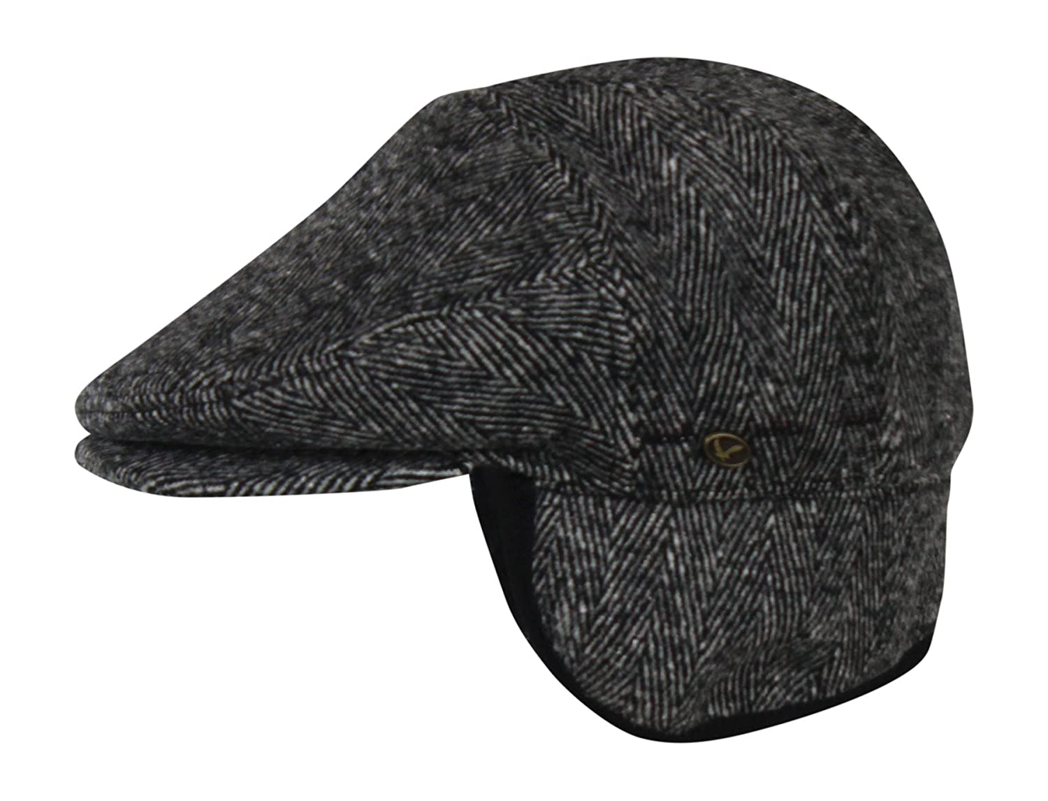 0276c553c4b6c 100% Wool Herringbone Winter Ivy Cabbie Hat w Fleece Earflaps - Driving Hat  at Amazon Men s Clothing store
