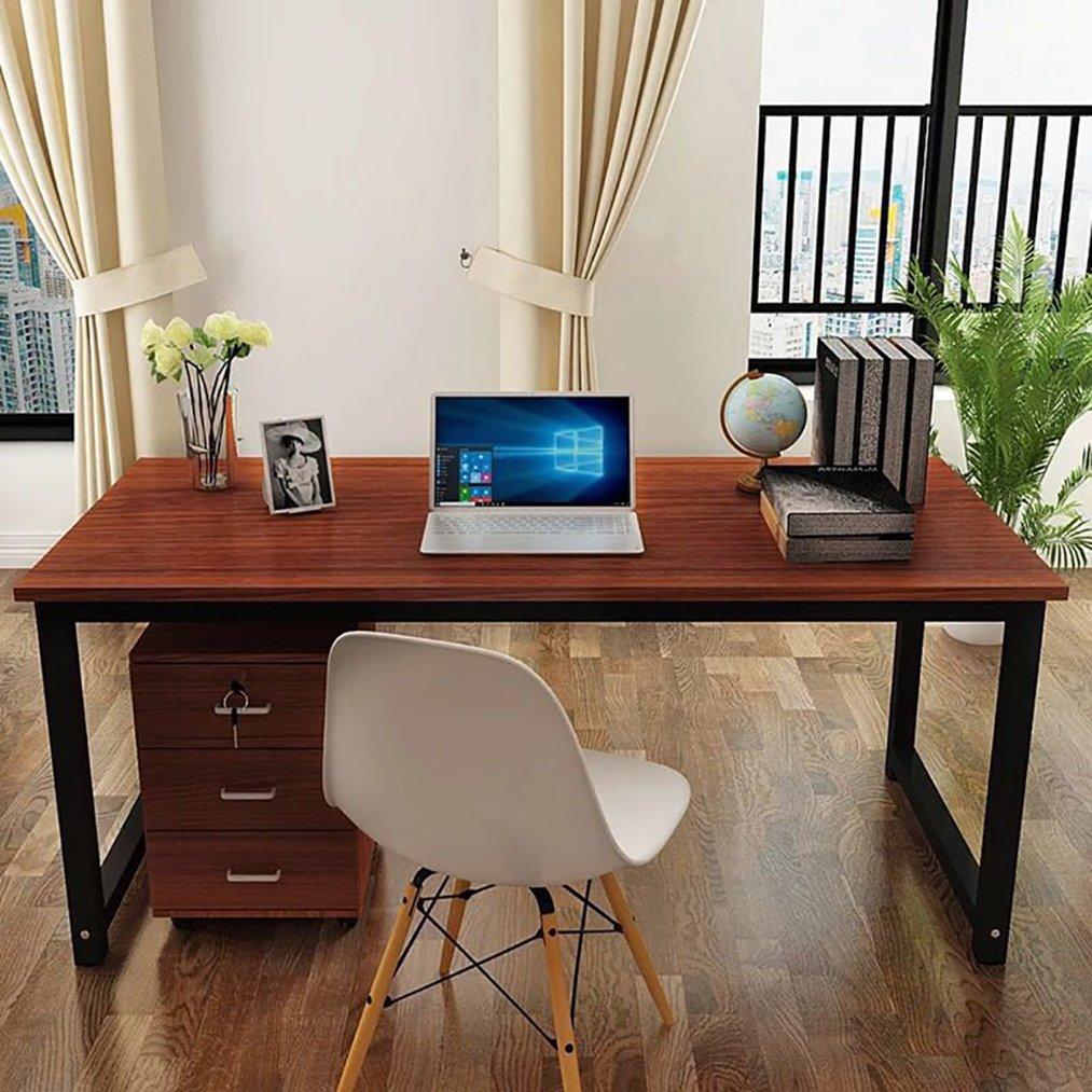 Masmartox Office Computer Desk-Writing Desk 55in Study Table Office Desk Workstation for Home Office Desk Teak+black leg