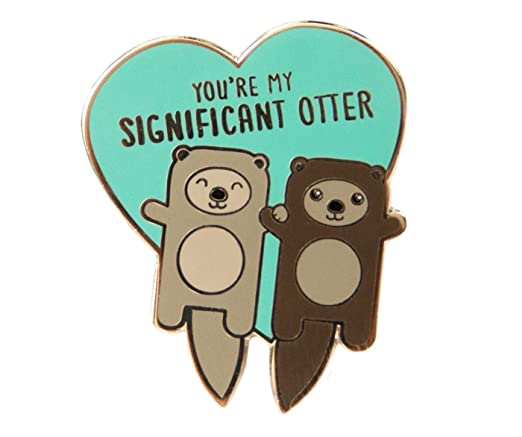 Enamel pin with two otter holding hands