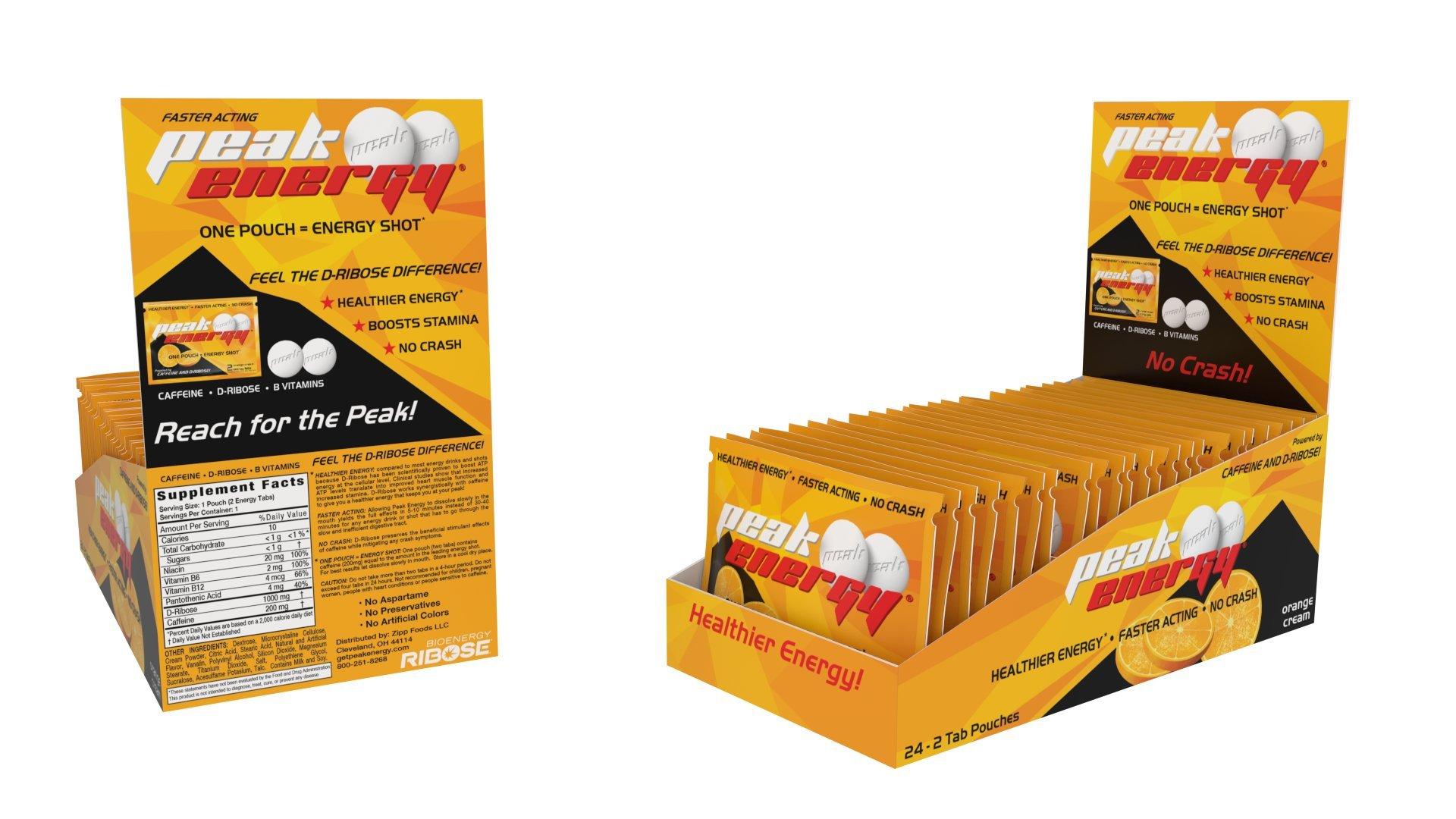 Caffeine and D-Ribose Energy Mints - 100mg Caffeine per mint - 24 Pouch Box - Orange Cream Flavor by Peak Energy (Image #1)