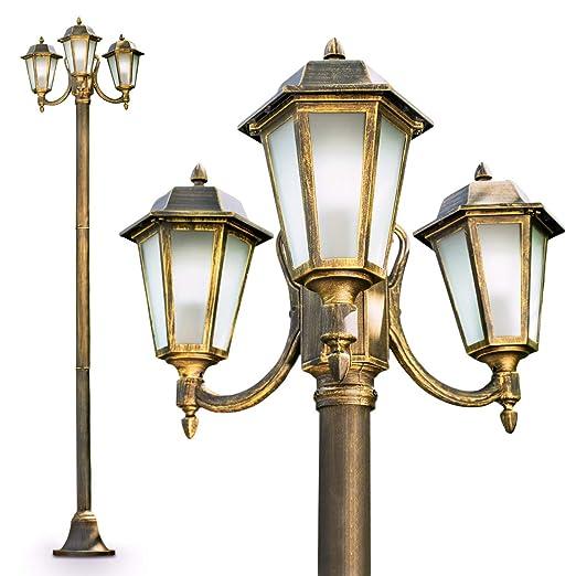 Lampione Tre Luci Design Classico- Lampione da giardino altezza 210 ...