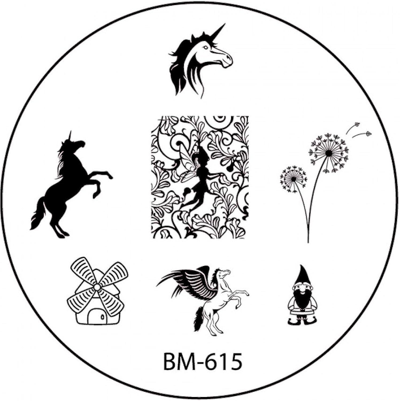 STAMPING-SCHABLONE # BM-615 °°Einhorn, Pegasus, Fee, Elfe, Fairy ...