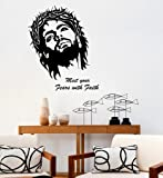 Decals Design 'Jesus Christ Meet Your Fears with Faith Quote Christian Art' Wall Sticker (PVC Vinyl, 60 cm x 60 cm x 1 cm, Black)