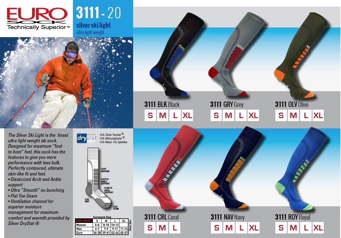 Eurosocks  Sliver Ski Light Sock, Purple, Small