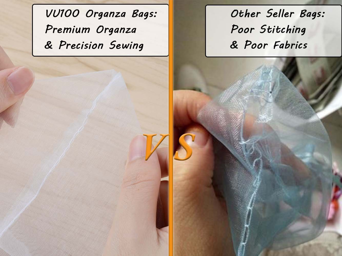 VU100 Organza Bags 7x11 Drawstring Gift Bags, Premium Floral Lace Large Storage Mesh Bags, for Jewelry Candy Wedding Party Favors Bags (2 Bags, White)