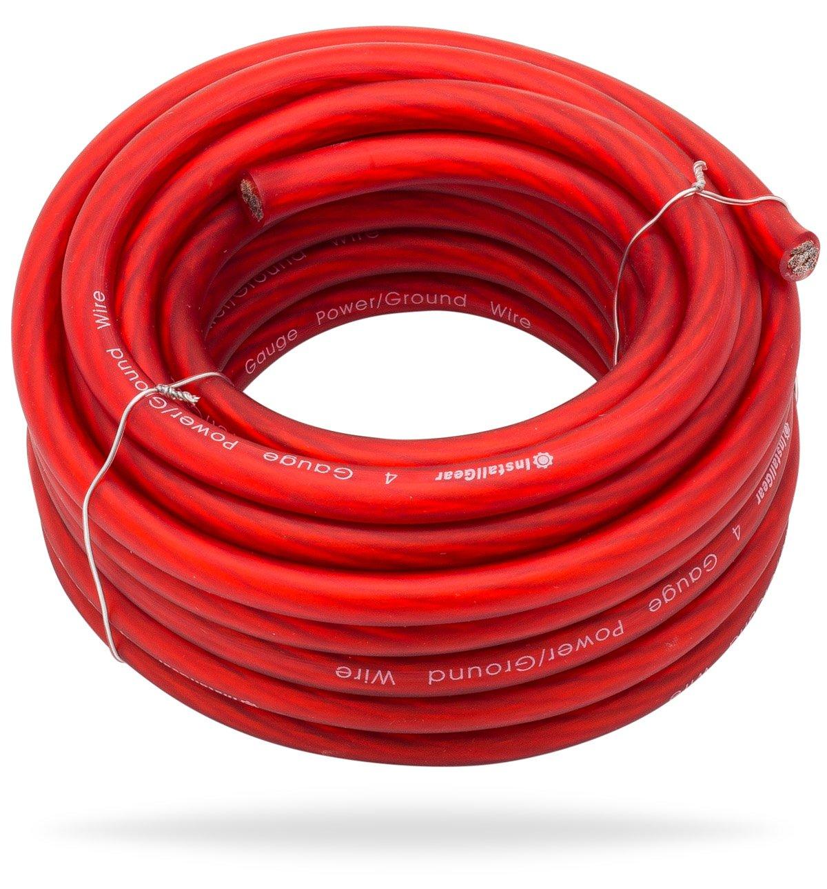 Amazon.com: InstallGear 4 Gauge Red 25ft Power/Ground Wire True Spec ...