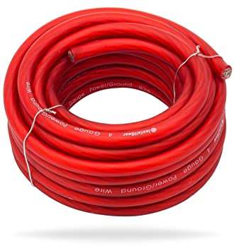 Amazon installgear 4 gauge red 25ft powerground wire true installgear 4 gauge red 25ft powerground wire true spec and soft touch cable greentooth Choice Image