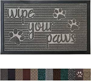 Gorilla Grip Original Durable Rubber Door Mat, 29 x 17, Heavy Duty Pet + Dog Doormat, Indoor Outdoor, Waterproof, Easy Clean, Low-Profile Mats for Entry Garage, Patio, High Traffic Areas, Stone Paws