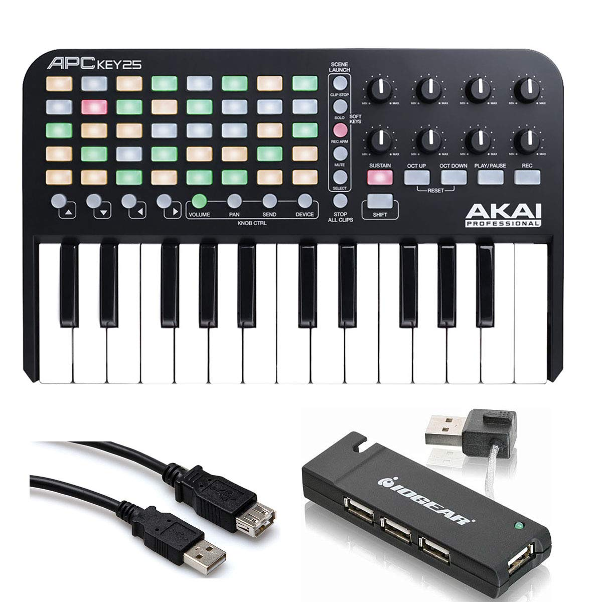 Akai Professional APC Key 25 - Ableton Live Controller with Keyboard + 4-Port USB 2.0 Hub + Hosa USB- Type High Speed USB Extension Cable by Akai