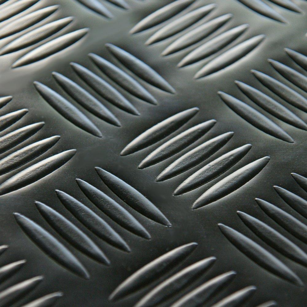 Rubber-Cal ''Diamond-Grip Resilient Flooring Mat - 2mm x 4ft x 15ft Rubber Flooring Rolls - Black