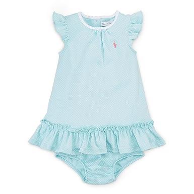 88e47ed13997 Amazon.com  Ralph Lauren Baby Girls Pin Dot Cotton Dress   Bloomer ...