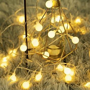 40 LED 16ft Cadena Luces, Impermeable, luz blanca cálida, Fulighture Decorativas Guirnaldas Luminosas para Exterior,Interior, Jardines, Casas, Boda, Fiesta de Navidad: Amazon.es: Hogar