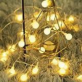 40 LED 16ft Cadena Luces, Impermeable, luz blanca cálida, Fulighture Decorativas Guirnaldas Luminosas para Exterior…