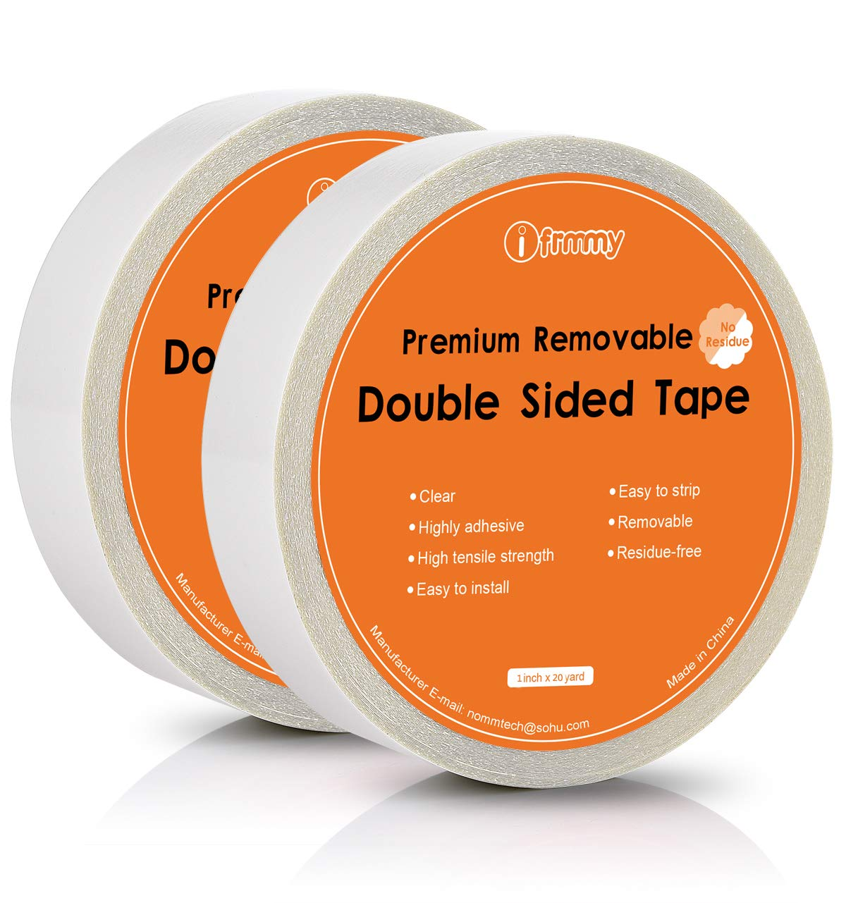 ifrmmy Removable Clear Double Sided Sticky Tape - No Residue, 1 inches x 20 Yards (2 Rolls)