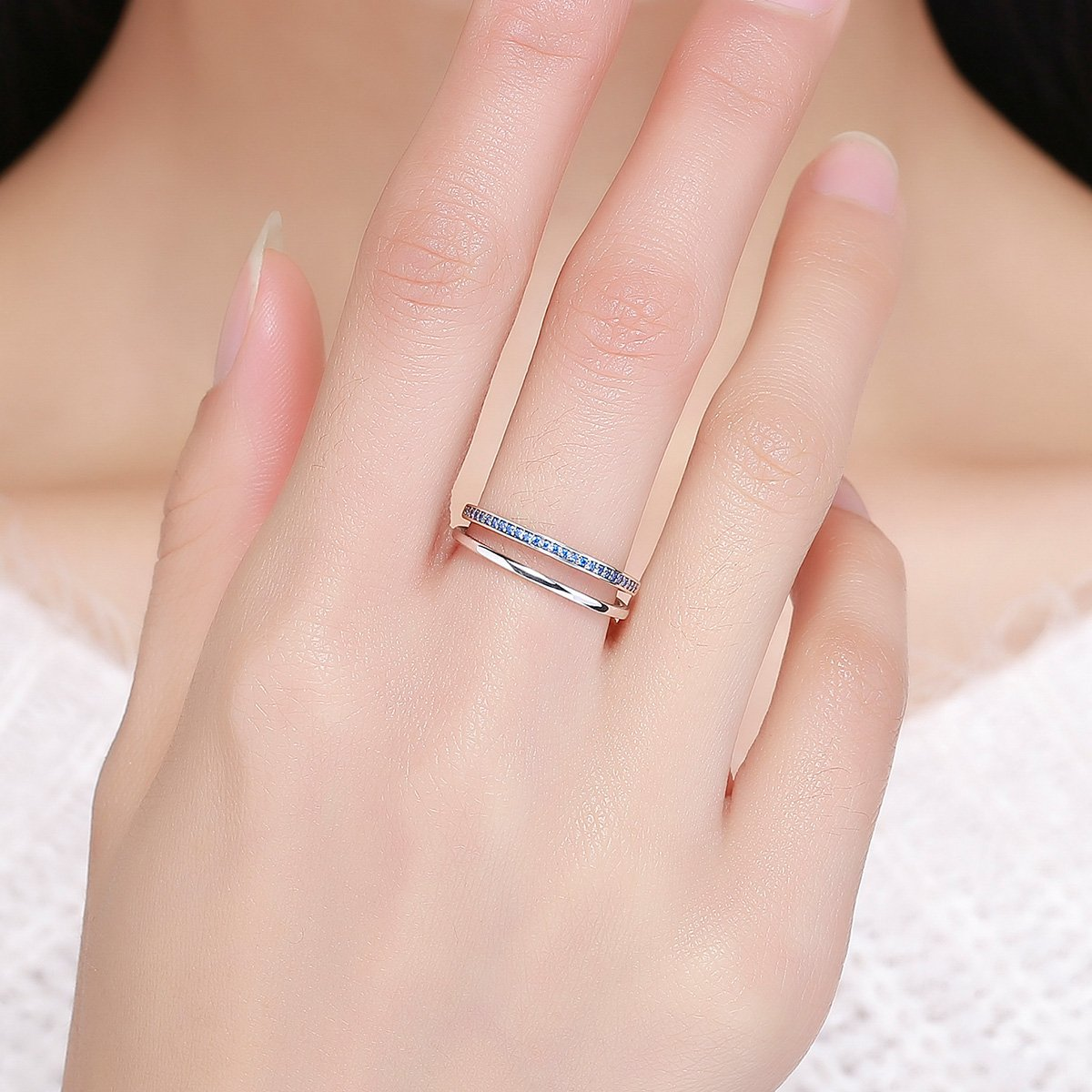 Blue CZ The Kiss Rising Star 925 Sterling Silver Ring