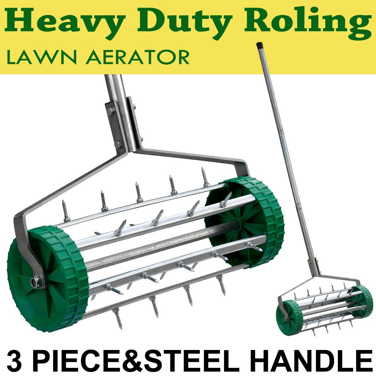 Beyondfashion 3.5cm Spiked Rolling Grass Lawn Aeration Roller 36cm Garden Soil Fertilize