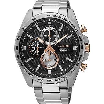 Seiko Reloj Cronógrafo para Hombre de Cuarzo con Correa en Acero Inoxidable SSB281P1: Amazon.es: Relojes