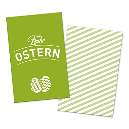 Itenga 10x Geschenkkarte Geschenkkärtchen Frohe Ostern Grün
