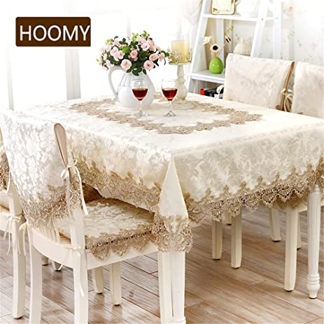 Hoomy European Lace Tablecloths For Rectangular Table Durable Modern Table  Covers For Party Rustic Oblong Dinning