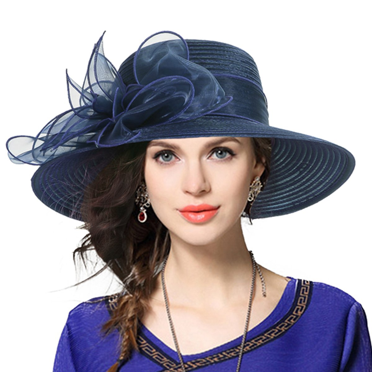 Kentucky Derby Dress Church Cloche Hat Sweet Cute Floral Bucket Hat (Leaf-Navy), Medium