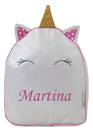 Mochila o Bolsa Infantil lencera Personalizada con Nombre en plastificado con Brillo Plata. Modelo Pequeño Unicornio: Amazon.es: Equipaje
