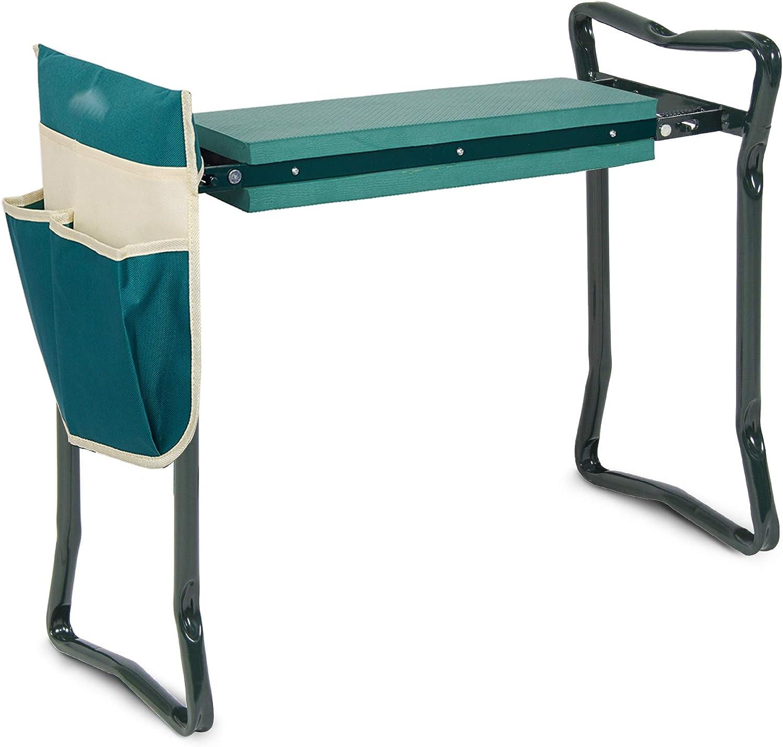 SMART TECH Garden Kneeler and Seat Foldable Garden Stools w/EVA Foam Kneeling Pad and Tool Pouch Portable Gardening Bench