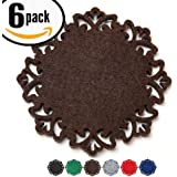 """Dulce Cocina Absorbent Drink Coasters, A Beautiful Home Decor Both Eye Catching & Viable, 6 Pack 4.5"""" Lace Cut Felt In Chocolate"""