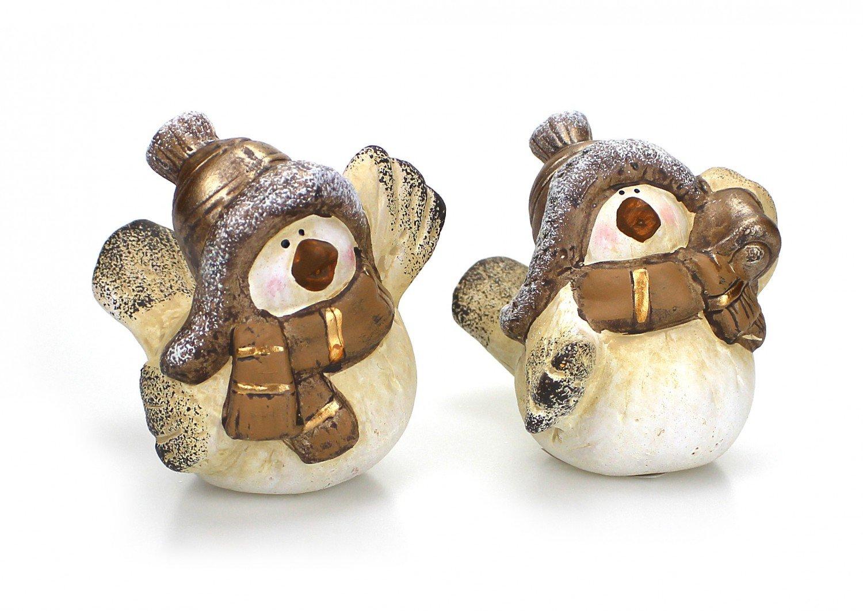 Wintervogel Vogel mit Schal und Mütze Keramik Winter Weihnachten
