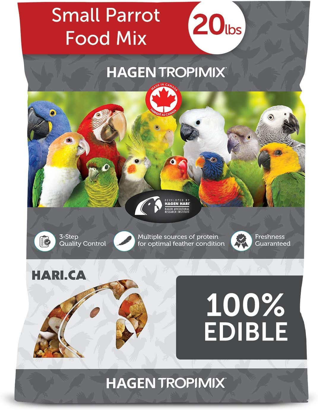 Tropimix Bird Food, Small Parrot Food with Seeds, Fruit, Nuts, Vegetables, Grains, and Legumes, Enrichment Food, 20 lb Bag