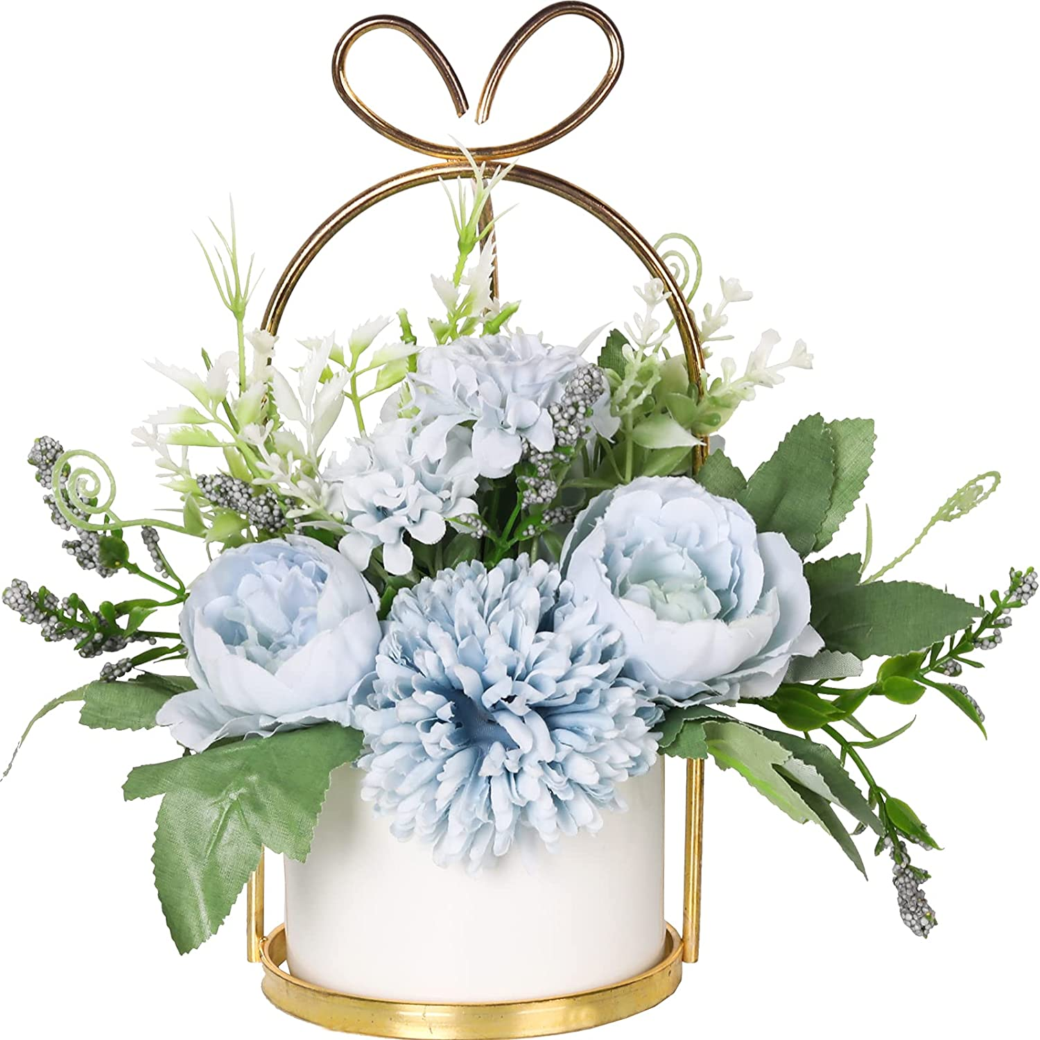 Nubry Artificial Flowers with Vase Fake Peony Silk Hydrangea Faux Wildflowers Arrangements in Vase for House Table Office Desk Decor (Blue)