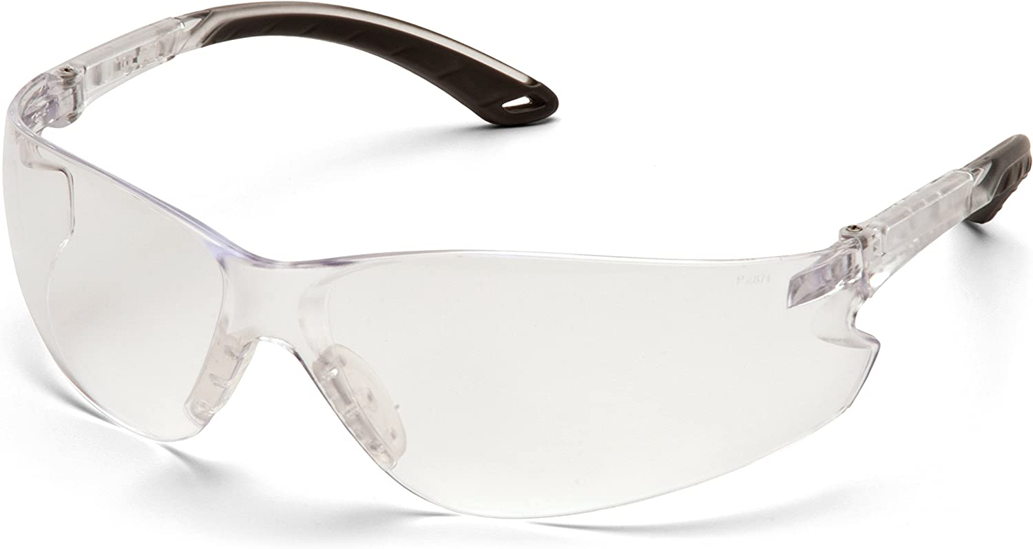 Pyramex Itek Safety Glasses, Clear Temples, Clear Anti-Fog Lens w/Adjustable Temples