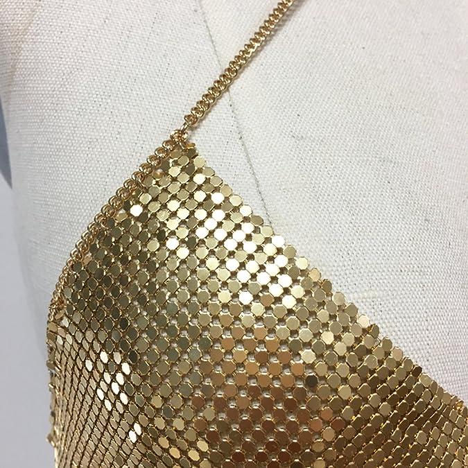 Amazon.com  Gold chain bralette with choker metal bra  Jewelry